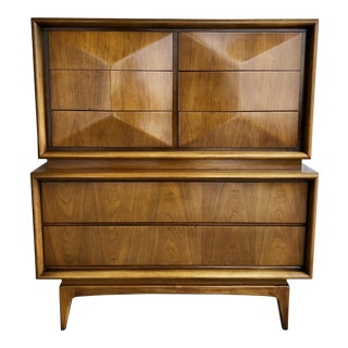 Vladamir Kagan Mid Century Modern Diamond Front Eight Drawer Highboy Dresser Chest of Drawers Wardrobe United Furniture