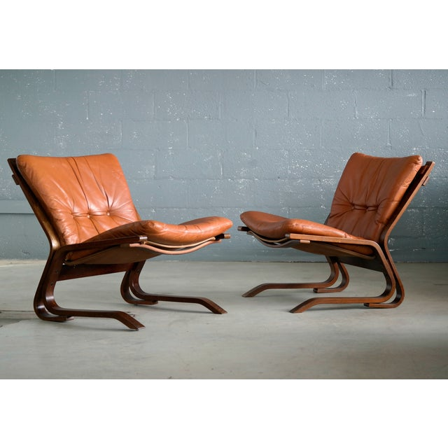 Beautiful pair of easy chairs in rosewood stained laminated beechwood with cognac colored cushions in a canvas sling...
