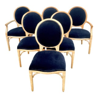 1980s Louis XVI/Faux Bois Custom Carved Oak & Velvet Dining Chairs - Set of 6 For Sale