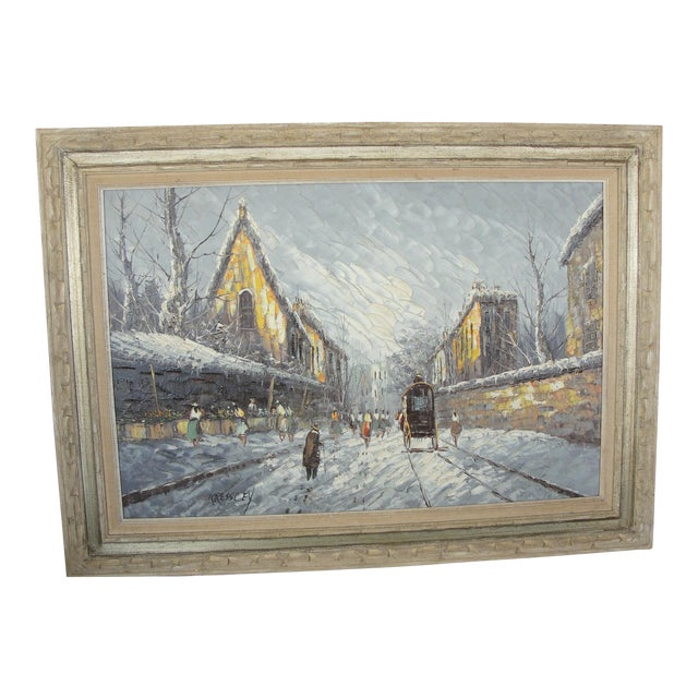 Mid-Century Impressionist Winter Cityscape For Sale