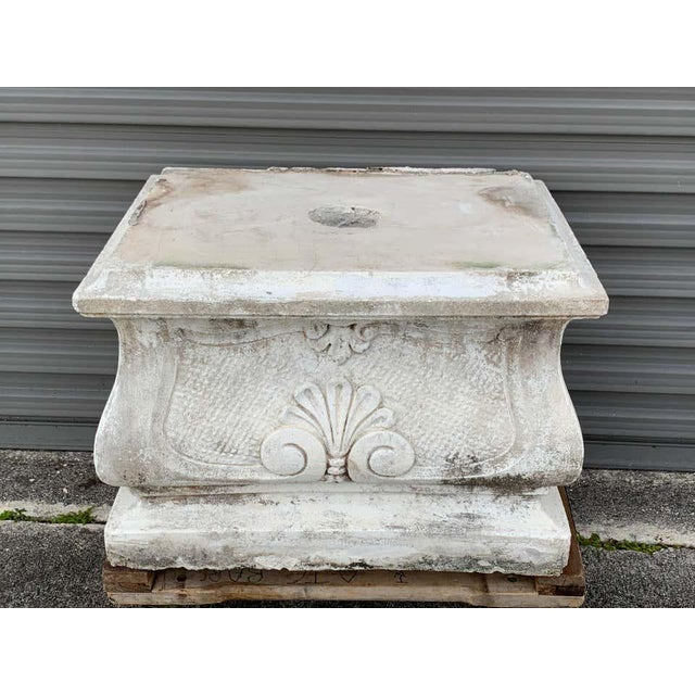 French Large Versailles Style Cast Stone Statue of 'Harvest' on a Pedestal Base For Sale - Image 3 of 12