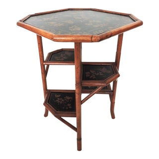 Vintage Octagonal Bamboo African Violet Side or Occasional Table For Sale