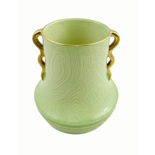 1925 Carlton Ware Art Deco Green Gold Handles Vase For Sale In Boston - Image 6 of 6