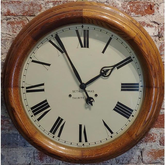 "Seth Thomas 30 days -Fabulous 24"" Oak Gallery Clock-c.1900 24"" white dial - Roman Numbers - size 25 x 7 x 25"" A beautiful..."
