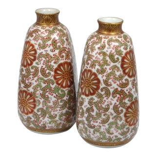 Japanese Kutani Ware Vases - A Pair For Sale