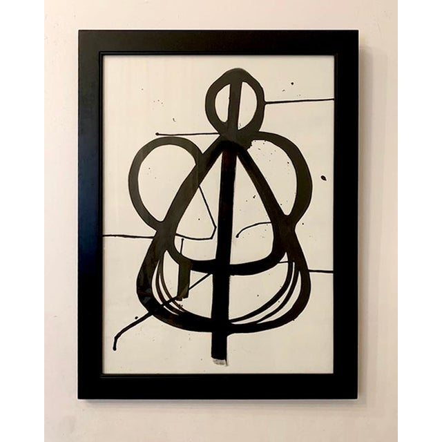 This original ink painting on paper is framed is a modern black wooden frame. 21 in. wide x 27 in. high, wired and ready...