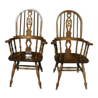 Vintage Mid Century Windsor Wheelback Style Armchairs - A Pair For Sale