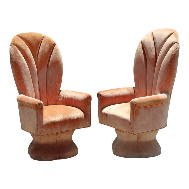 Velvet Highback Swivel Chairs - A Pair - Image 1 of 10