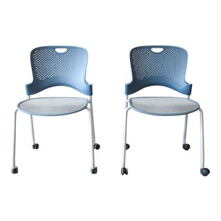 Herman Miller Rolling Office Chairs, Pair For Sale