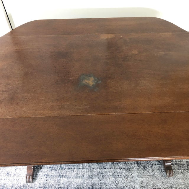 1940s Art Deco Drop Leaf Accent Table For Sale - Image 10 of 12