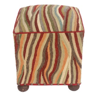 Saul Rust/Ivory Kilim Upholstered Handmade Ottoman