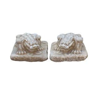 Chinese Off White Brown Marble Stone Fengshui Pixiu Statues - a Pair For Sale