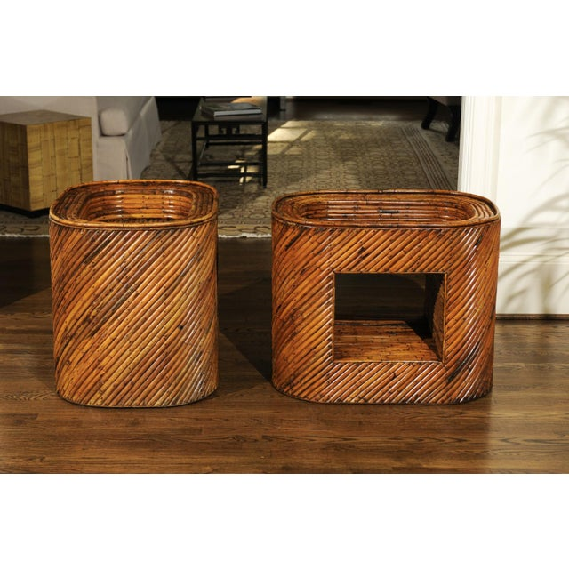 Exceptional Restored Pair of Bamboo Display End Tables, circa 1975 For Sale In Atlanta - Image 6 of 13