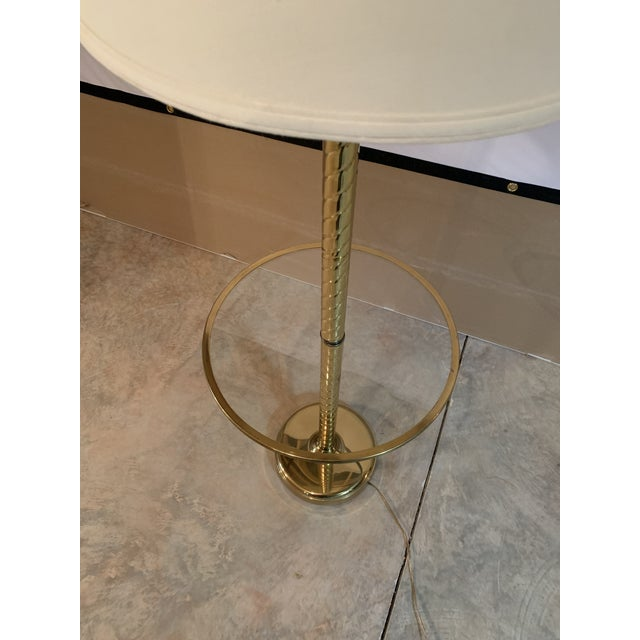 Vintage Hollywood Regency Twisted Brass and Glass Floor Lamp and Table With White Linen Shade For Sale - Image 4 of 11