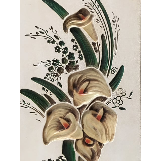 Mid Century Chalkware Botanic Plaques - a Pair For Sale - Image 4 of 12