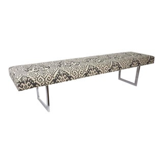Mid-Century Long Bench with Ikat Print in the Style of Florence Knoll