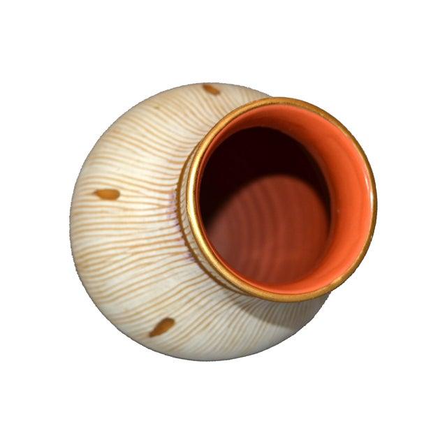 Italian Mid-Century Modern Gold Leaf & Beige Hand-Crafted Ceramic Glazed Vase For Sale - Image 10 of 11