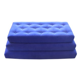 Royal Blue Three Level Attached Stepped Ottoman For Sale