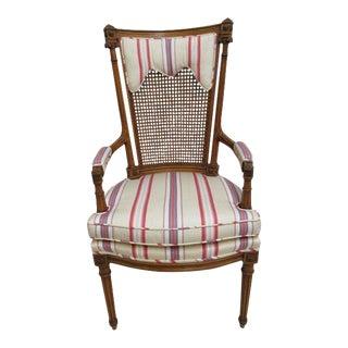1970s Vintage Baker Furniture Company French Regency Style Fireside Armchair