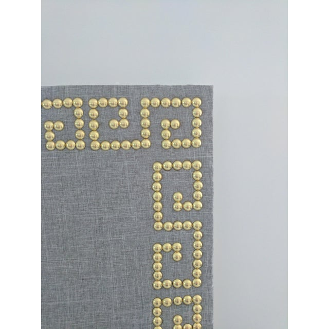 Greek key gray linen cork board ponboard chairish for Linen cork board