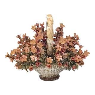 Antique Porcelain Floral Basket Figurine