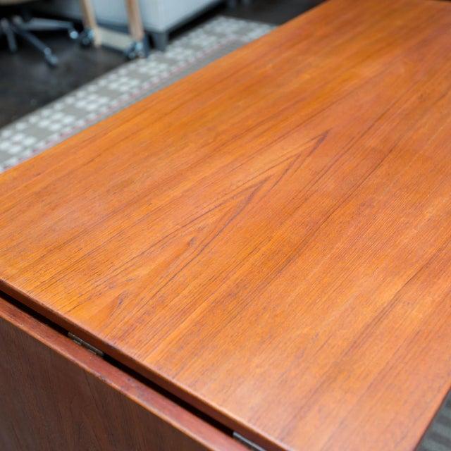 Brown Arne Vodder Style Single Pedestal Drop-Leaf Teak Desk For Sale - Image 8 of 10