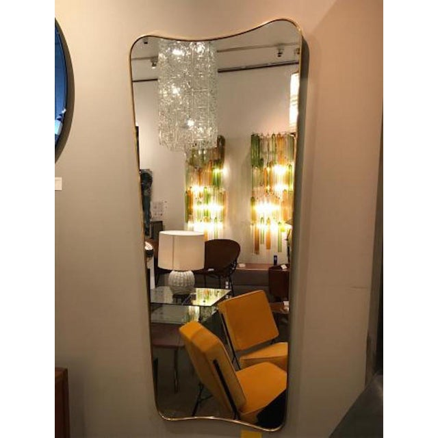 Gio Ponti 1950s Gio Ponti Large Scale Mid Century Brass Wall Mirrors - a Pair For Sale - Image 4 of 6