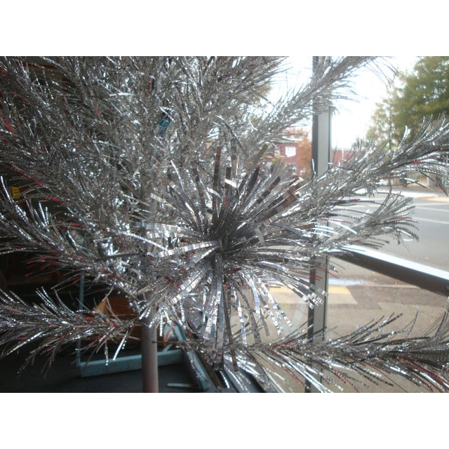 1960s Midcentury Aluminum Pom Pom 6 Foot Christmas Tree For Sale - Image 5 of 6