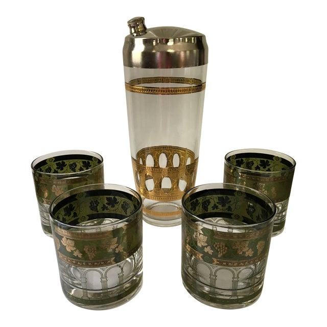 1960's Art Deco Martini Shaker with Double Old Fashioned Glasses - 5 Pieces For Sale