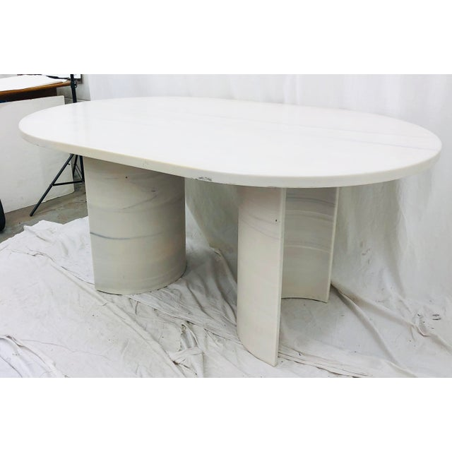 Stunning Vintage Mid Century Modern White & Black Marble Table. Contemporary Oval Shape paired with Curved Arch / Demi...