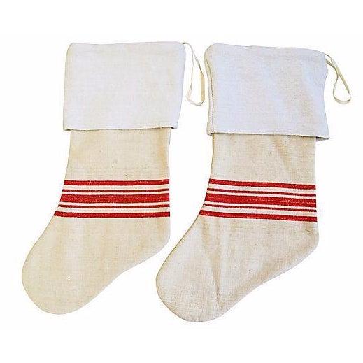 French Grain Sack Christmas Stockings - Pair - Image 1 of 6