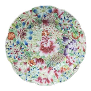 Late 19th Century Chinese Famille Rose Canton Porcelain Floral Motif Saucer For Sale