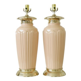Vintage Art Deco Ceramic & Brass Table Lamps - a Pair For Sale
