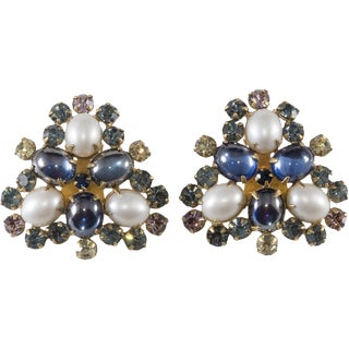 Hattie Carnegie Earrings 1950s Vintage Rhinestone Blue Purple Yellow Faux Pearl For Sale