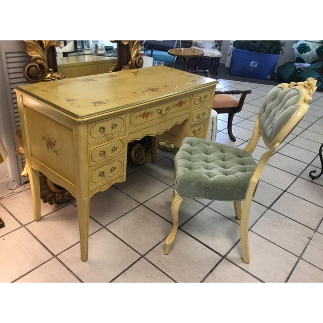 1970's Yellow Hand Painted Roses Floral Vanity & Chair For Sale - Image 10 of 10