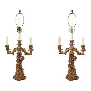 Pair of Figural Gilt Wood Candelabra For Sale