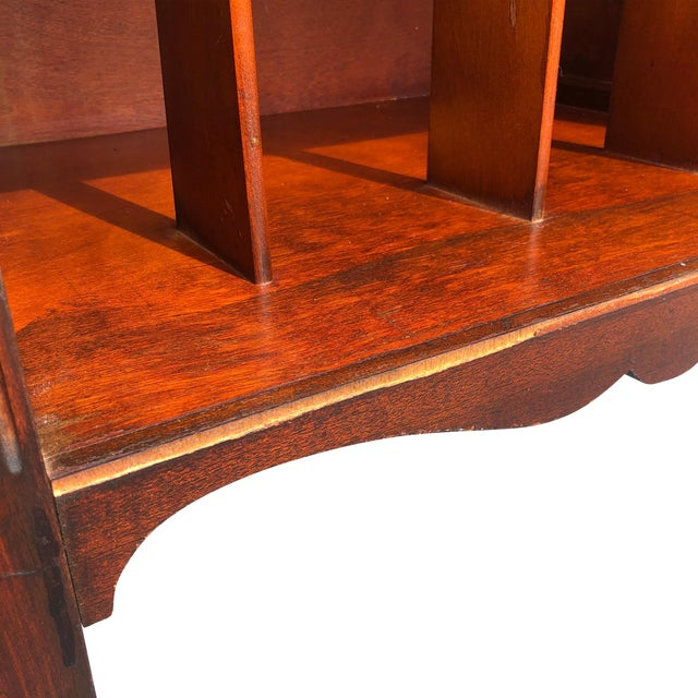 Brown Antique Traditional Mahogany Carved Vinyl Record Cabinet Holder For Sale - Image 8 of 12