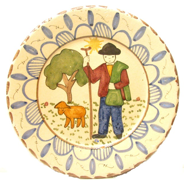 "Delightful quartet of Italian terracotta plates hand-painted in a charming country style. The two larger plates (8""Dia.)..."