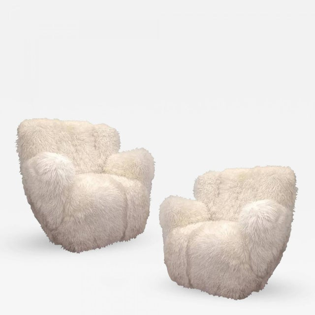 Viggo Boesen Pair of Hairy Club Chairs Covered in Sheep Skin Fur For Sale - Image 6 of 6