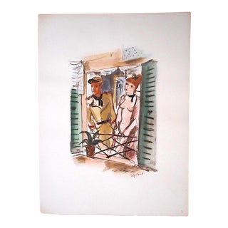 Vintage Mid 20th C. Ltd. Ed. Hand Colored Lithograph-Signed-Young Woman & Soldier-Andre Dignimont For Sale