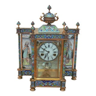 Chinese Cloisonné Enamel Wind Up 7 Day Chiming Clock For Sale