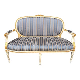 French Louis XVI Style Sofa With Antique Gold/White Finish Handcrafted Wood For Sale