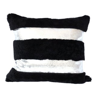 Silver and Black Striped Sheepskin Leather Pillow by Tasha Tarno For Sale
