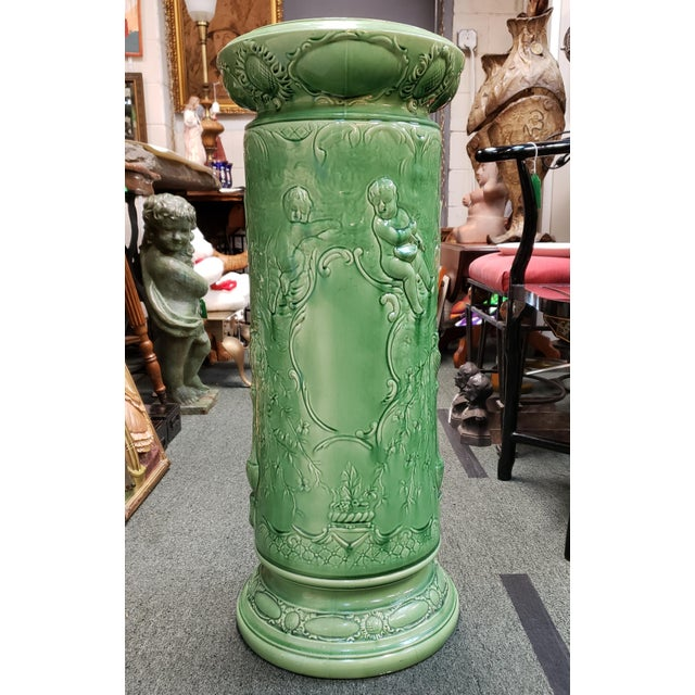 Victorian Circa 1890 French Majolica Porcelain Raised Relief Putti and Floral Motif Pedestal For Sale - Image 3 of 12