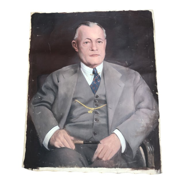 1950s Vintage Regal Business Man With Pipe Portrait Oil on Canvas Painting For Sale