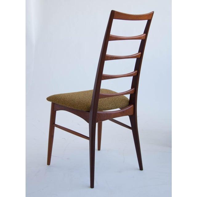 Fabric Set of Koefoeds Hornslet Teak Ladder Back Dining Chairs For Sale - Image 7 of 11