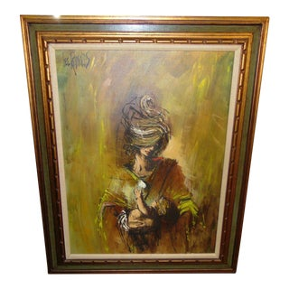 """1960s """"Mother and Child"""" Abstract Figurative Oil Painting, Framed For Sale"""