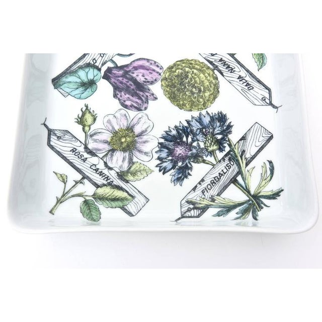 "1950s Italian Fornasetti Porcelain ""Botanica Pratica"" Square Bowl or Serving Piece For Sale - Image 5 of 8"