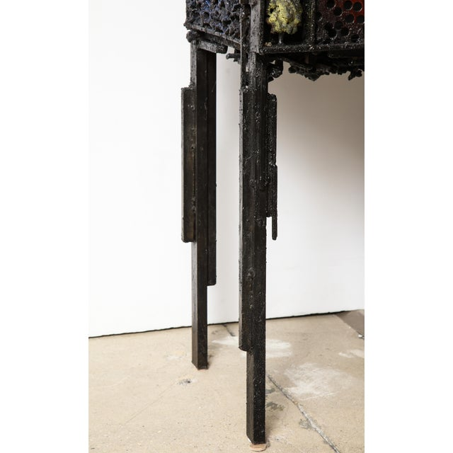 """James Bearden """"Segment Cabinet"""" in Polychromed and Bronzed Steel For Sale - Image 12 of 13"""