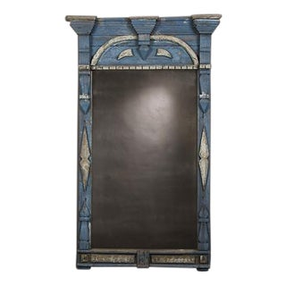 1850s Swedish Handmade Window Frame With Original Blue Paint & Antiqued Mirror For Sale
